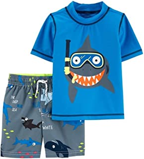 795ee71105 Carter's Boys Rash Guard & Swim Shorts Set, Snorkeling Shark Blue