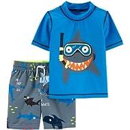 Carter's Boys Rash Guard & Swim Shorts Set, Snorkeling Shark