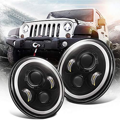 """Chanhan 2 x 7"""" Faros Delanteros LED, Faro Coche Land Rover Defender, 12V Luces Bombilla LED Coche, Lampara de Coches,Ojo de ángel,DRL luces de giro,Jeep Wrangler Land Rover,con H4 H13 Cable Adaptador"""