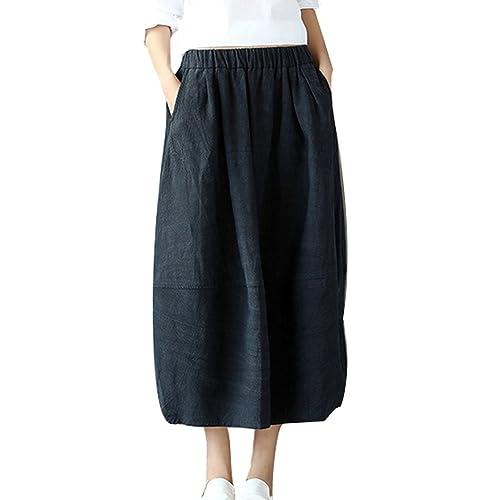 eb6b6f8db9 Soojun Women s Vintage Loose Linen Elastic Waist Pleated Midi Skirt