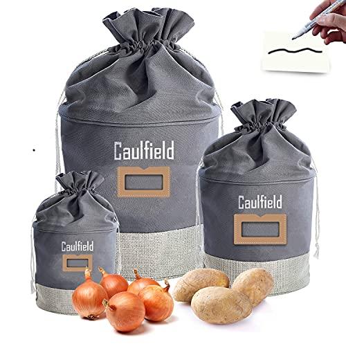 Caulfield Cajas de almacenamiento, juego de cajas de almacenamiento de tela dura para alimentos, verduras, cesta de almacenamiento, bolsa de almacenamiento impermeable con sombreado (3pcs)