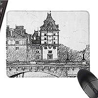 パリの滑らかなマウスパッドサーフェスポンヌフからの歴史的なフランスの歴史的建造物都市建築ノンスリップ長方形マウスパッド白黒