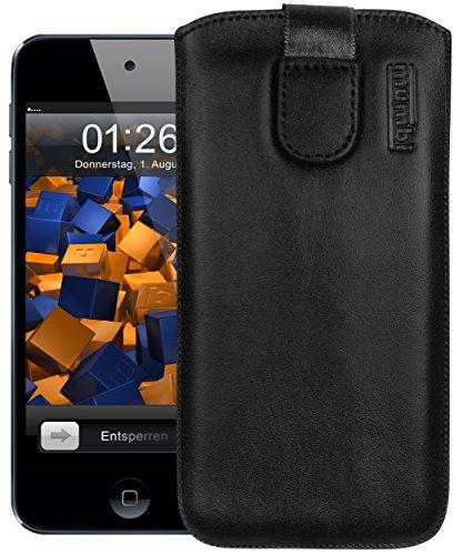mumbi Echt Ledertasche kompatibel mit iPod Touch 5G / 6G / 7G Hülle Leder Tasche Case Wallet, schwarz