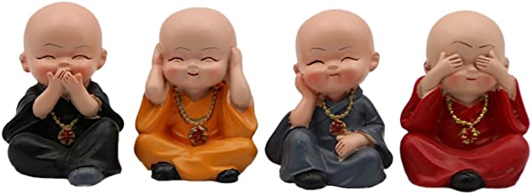 Homyl 4x Bouddha Statue Figurine Kung Fu Statuette Voiture Maison Décor Noël Cadeau