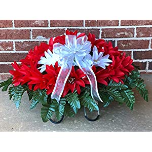 Large RED White Cemetery Saddle ~ Red and White Dahlias Headstone Saddle ~ Cemetery Flowers