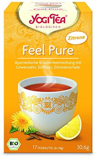 Yogi Tea 10x Feel Pure mit Zitrone Bio Yogi Tee I ayurvedische Kräuter-Gewürz Teemischung mit Löwenzahn Süßholz I 170 Tee-Beutel Bio Zitronentee