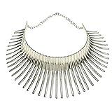 Mogzank Frauen Groo Afrikanisch Halskette Indische Stil Bieg Legierung GrooEr Dorn Statement Kragen Hals Reif Silber Farbe