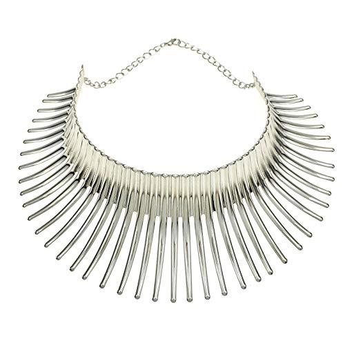 Tamkyo Collar Africano Grande para Mujer Estilo Indio AleacióN de FlexióN Gran Espina Collar Llamativo Gargantilla Color Plateado