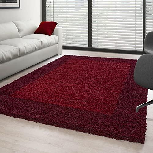 Carpettex Teppich Tapis Shaggy Pile Longue Designe 2 Couleur Rouge-Bordeaux - 160x230 cm
