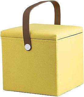 مقعد قابل للطي للتخزين لغرفة المعيشة وغرفة النوم وقماش الكتان طاولة الزينة المطبخ حديقة الحمام للأطفال والكبار (اللون: أصفر)