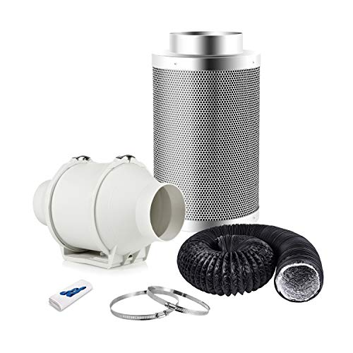 Hon&Guan In-line Duct Fan Carbon Filter Kit for Hydroponic Grow Room Tent Ventilation with Ducting Hose, Pipe Clips (Hydroponic Growing Kits 100mm)