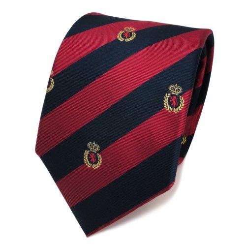 TigerTie Designer Cravatta in seta - rosso blu royal oro striato stemma - Cravatta in seta