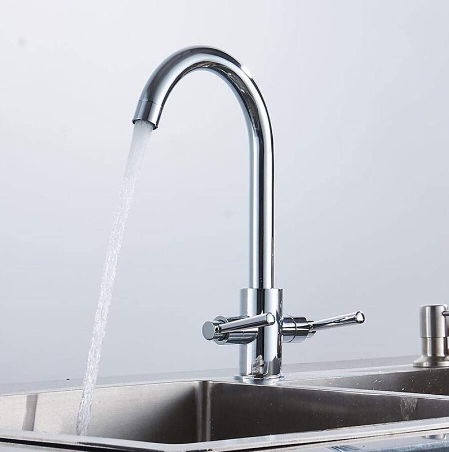 Wasserhahn Küchenarmatur New Style 360 Rotation Double Handle Silber Kitchen Faucet Kitchen Sink Mixer TapTap