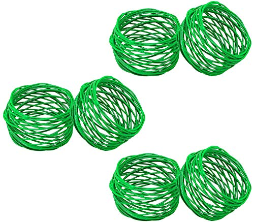 ITOS365 Handmade Green Round Mesh Napkin Rings Holder for Dinning Table Parties Everyday, Set of 6