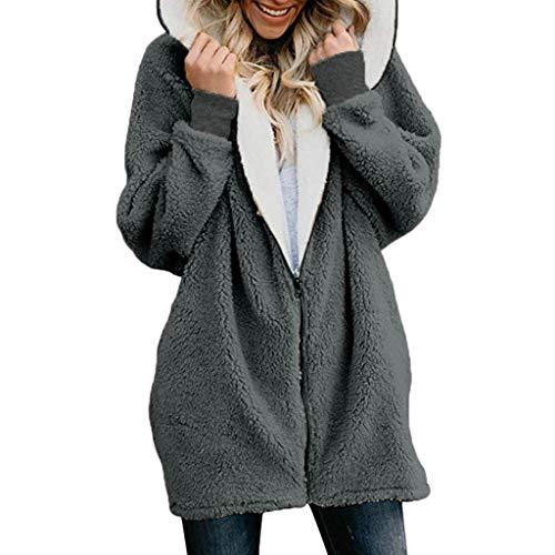 Sunhusing Women's Winter Fluffy Double-Face Fleece Zip Pullover Fashion Hoodie Warm Jacket(Dark Gray,M)