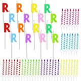 Letter R Birthday Cake Candles Set with Holders (96 Pack)