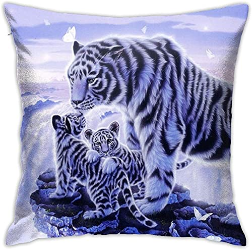 BONRI Throw Pillow Case, Purple Ball Pillow Cover, Funda de Almohada Decorativa Cojín Cuadrado para sofá Sofá Coche 18x18-Cliff Tiger