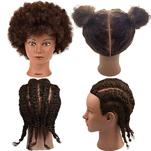 Mannequin Head 100% Human Hair Training Head Afro Hair Manikin Head African American Training Hair Head Manikin Cosmetology Doll for Hairdresser Practice Styling Braiding with Clamp Stand