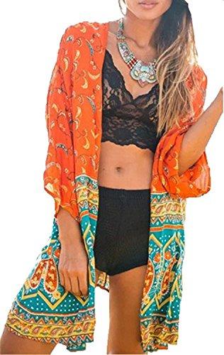 L-Peach Damen Chiffon Sommerkleid Strandkleid Strandponcho Sommer Strand Bikini Cover Up