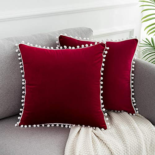 WLNUI Set of 2 Soft Velvet Valentines Day Burgundy Pillow Covers 18x18 Inch Square Decorative Cute Pom Poms Throw Pillow Covers Cushion Case