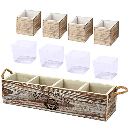 Wooden Planter Boxes Long Rectangular Planter with Multiple Compartments Inner Plastic Box for Table Centerpieces Wood Window Box Organizer for Indoor Plants Farmhouse