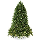 HITASION Pre-lit Artificial Christmas Tree 6ft Premium Hinged Dunhill Fir Includes Pre-Strung White Lights and Foldable Stand
