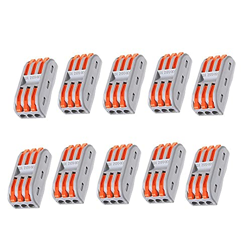 Bloques de conector eléctrico, abrazadera de alambre, bloque de terminales, conector de empalme, 3 conductores Conectores de cable compacto de palanca Bloque de terminales rápidos usados en varios t
