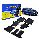 Goodyear Custom Fit Car Floor Liners for Nissan Pathfinder 2013-2020, Black/Black 6 Pc. Set, All-Weather Diamond Shape Liner Traps Dirt, Liquid, Precision Interior Coverage - GY004237