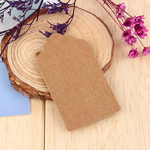 HEEPDD kraftpapier hanger, 100 stuks blanco kraftpapier hangers prijskaartje cadeau hanger voor kunst en handwerk bruiloft verjaardag cadeau 7 x 4 cm