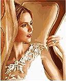 Pintura al óleo de bricolaje Elegante chica Pintura por números Para lienzo niños adultos decoración set de regalo pintura acrílica 40x50cm (sin marco)