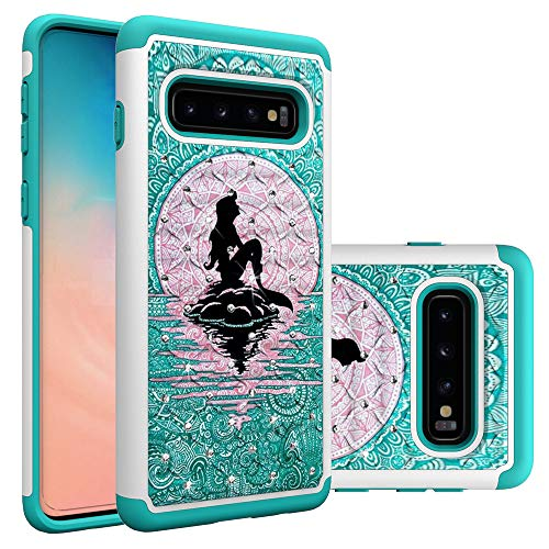 Galaxy S10 Case, Samsung Galaxy S10 Case, Mermaid with Moon Pattern Heavy Duty Shockproof Studded Rhinestone Crystal Bling Hybrid Case Silicone Protective Armor for Samsung Galaxy S10 6.1 Inch 2019