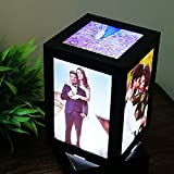 Lvi Craft Customized LED MDF Photo Frame Rotating Night Lamp Personalized Photo Print Frame Birthday Gifts (Black, 9 X 5 inch)