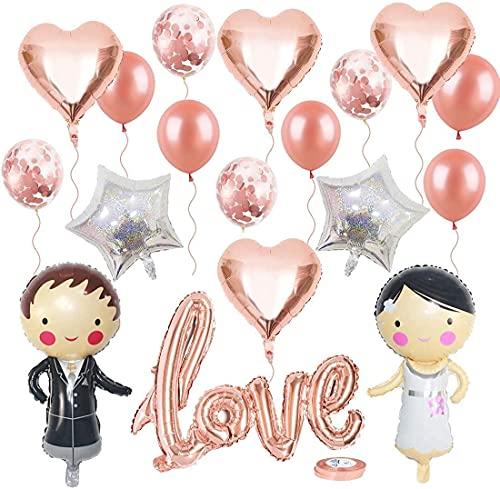 Globos boda Deko Set, Brautpaar Globo, Love Folienballon Herzballon Konfettiballons novia Bräutigam para Heiratsantrag Standesamt (oro rosa)