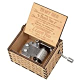fezlens Wood Music Boxes You are My Sunshine Dad Antique Engraved Wooden Musical Box Gifts for Father's Day/Birthday/Christmas/Valentine's Day/Thanksgiving Days Hand-Operated Present Kid Toys