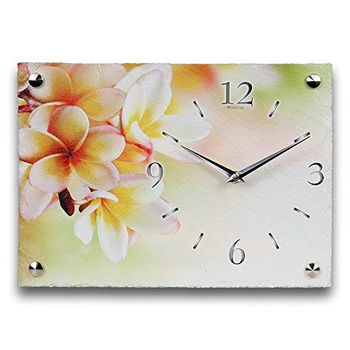 Kreative Feder White Flower Luxus Designer Wanduhr Funkuhr aus Schiefer *Made in Germany leise ohne Ticken WS106FL