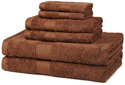 Amazon Basics 6-Piece Fade-Resistant Cotton Bath Towel Set - Acorn Brown