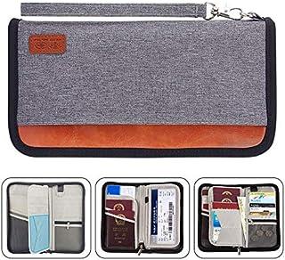 Travel Wallet,RFID Blocking Family Passport Holder Carry Storage Case Passport Holder Cash Document Organizer for Cards/Tickets/(Grey)
