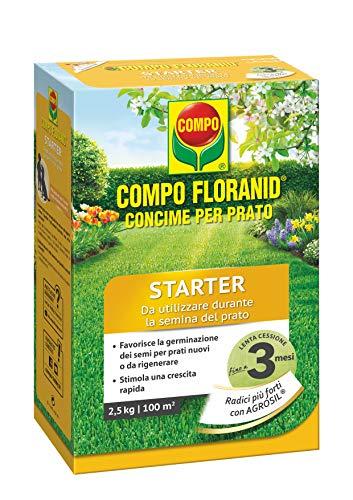 COMPO Concime Prato STARTER, Concime per Prato a lenta cessione, Specifico per la semina e la rigenerazione di tappeti erbosi, 2,5 kg