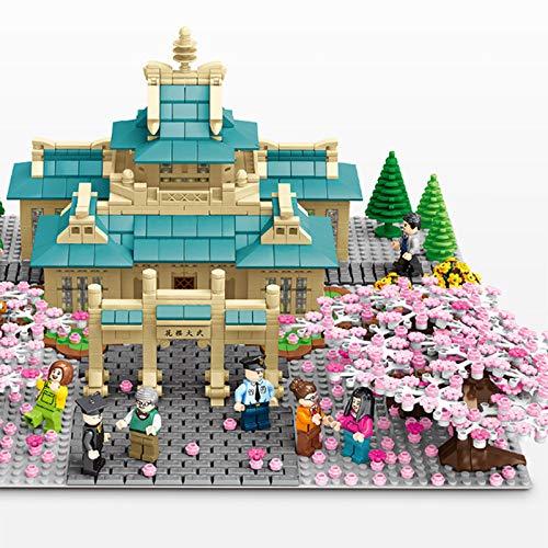 Juegos de bloques de construcción de árbol de Sakura, modelo de bloques de construcción de escena de cerezo de la Universidad de Wuhan con placa base, compatibles con mini ladrillos personalizados