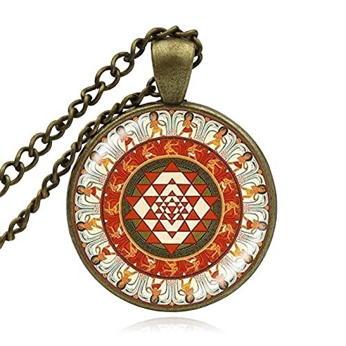 TUDUDU Colgante De Joyería Budista, Collar De Geometría Sagrada, Joyería De Cristal, Collar Budista De Mandala, Joyería De Mujer, Longitud De Cadena 60Cm + 5Cm