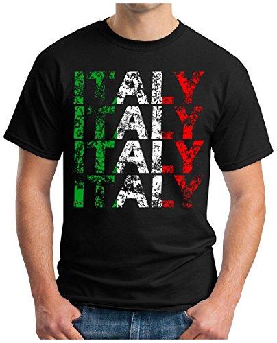 OM3® - Italy - T-Shirt Italien Italia Fussball World Cup Soccer Fanshirt Sport Trikot, L, Schwarz