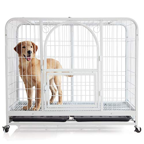 YIXIN2013SHOP Hundekisten/Zwinger Hund Käfig Katzenkäfig Square Tube Hunderahmen Haustier Hund Käfig Hundehaus Kaninchen Käfig Supplies Weiß Mit Skylight Haustierkäfig (Size : L)