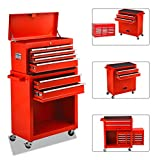 8 Drawers Tool Chest High Capacity Tool Box, Tool Chest with Wheels and Lockable Drawers, Roller Movable Tool Storage...
