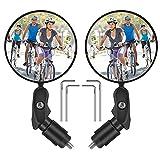 Espejos de Bicicleta Manillar, 360° Adjustable Retrovisor Manillar Bici Ciclismo Espejos, para Carretera Montaña, Motocicletas, Bicicleta Plegables, Urbanas