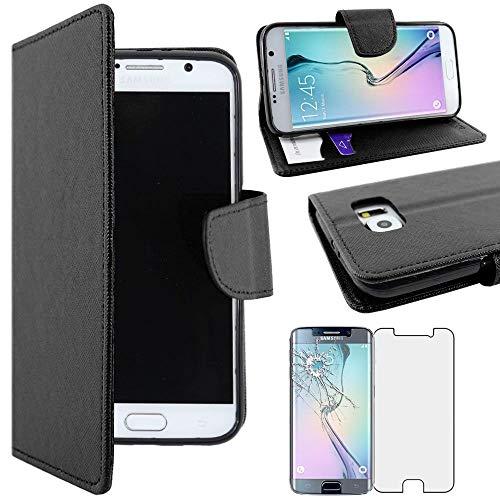 ebestStar - kompatibel mit Samsung Galaxy S6 Hülle SM-G920F, G920 Wallet Hülle Handyhülle [PU Leder], Kartenfächern Standfunktion, Schwarz +Panzerglas Schutzfolie [Phone: 143.4x70.5x6.8mm 5.1