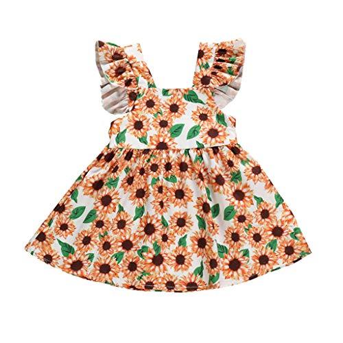 Alikey Toddler Baby Girls jurk zonder mouwen, bedrukt, zonnebloem, mouwloze jurk met ruches, jurk voor meisjes, zomer, mouwloos, kant met strik, haarband