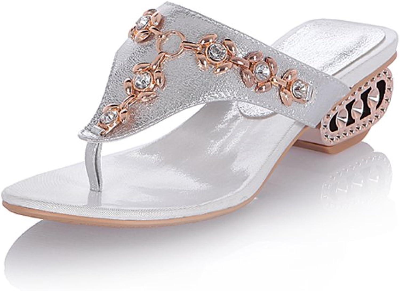 Lucksender Womens Rhinestone Mid Heel Flip-Flops Slippers