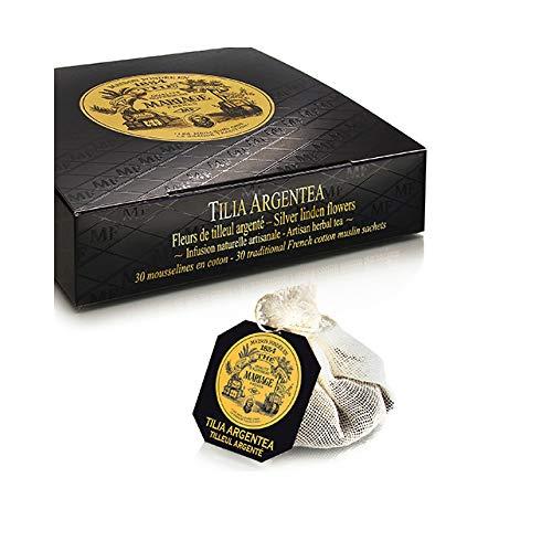 Mariage Frères - TILIA ARGENTEA Fleurs de tilleul argenté, infusion naturelle artisanale - Jardin Organique* - Boîte de 30 sachets mousseline de thé