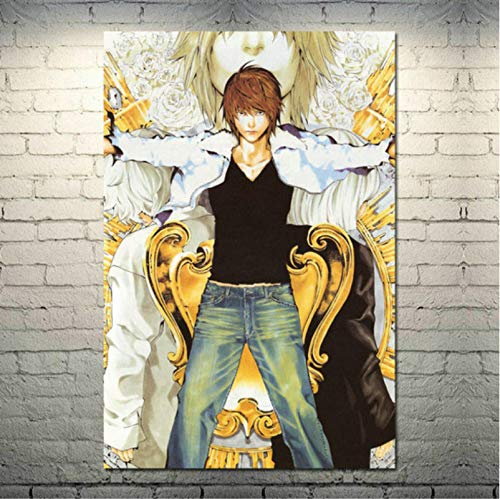 Póster de Lienzo de Seda de Arte japonés Death Note para decoración de Pared de Sala de Estar Moderna (50X70Cm) Sin Marco YI1905