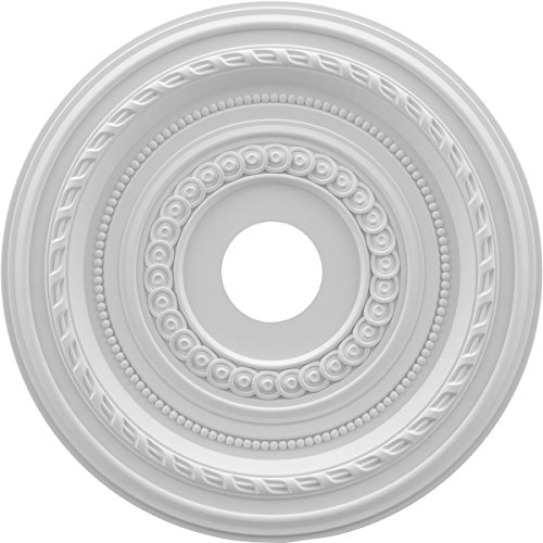 """Ekena Millwork CMP19CO Cole Thermoformed PVC Ceiling Medallion, 19""""OD x 3 1/2""""ID x 1""""P, White"""
